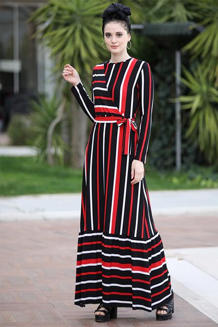 beac2e1199c03 Selma Sarı Design Siyah Kırmızı Kruvaze Çizgili Elbise Online Satış ...