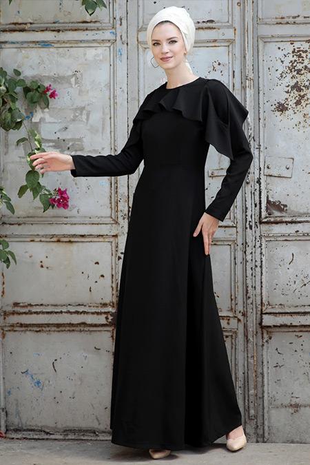 Selma Sarı Design Siyah Omuz Fırfır Detaylı Elbise
