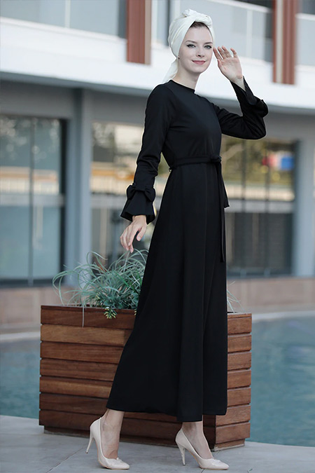 Selma Sarı Design Siyah Rahat Kesim Kolu Fiyonklu Elbise