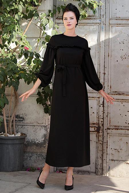 Selma Sarı Design Siyah Rahat Kumaş Fırfırlı Elbise