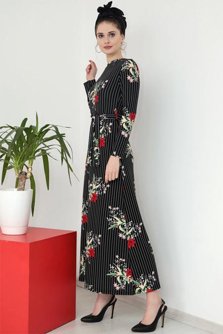 Selma Sarı Design Bordo Siyah Lale Elbise