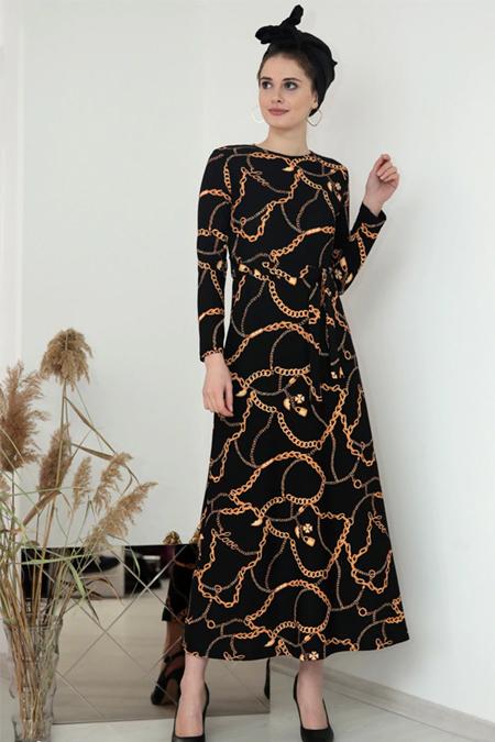 Selma Sarı Design Gold Siyah Lale Elbise