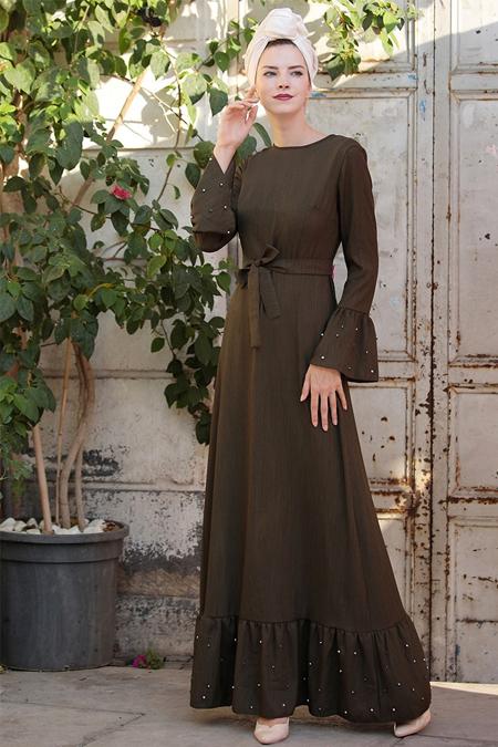 Selma Sarı Design Haki Volan Kol İnci Çakma Elbise