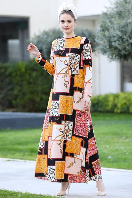 Selma Sarı Design Hardal Renkli Düz Kalıp Elbise