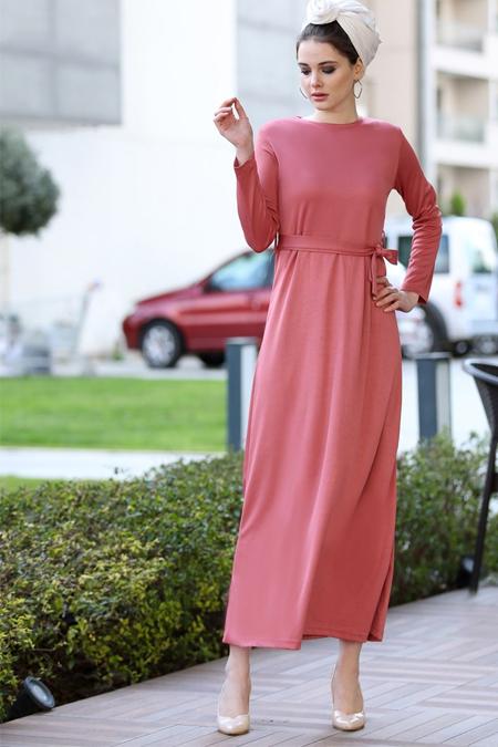 Selma Sarı Design Pudra Düz Basic Likralı Elbise