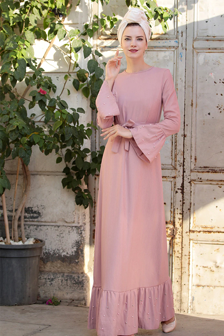 Selma Sarı Design Pudra Volan Kol İnci Çakma Elbise