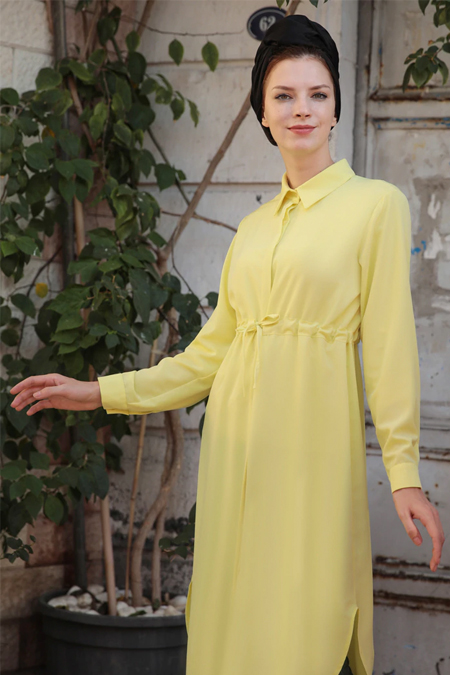 Selma Sarı Design Sarı Beli Bağcıklı Tunik