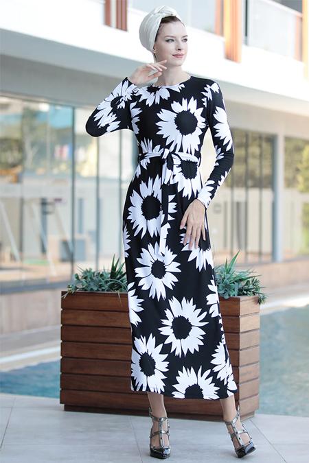 Selma Sarı Design Siyah Beyaz Lale Elbise