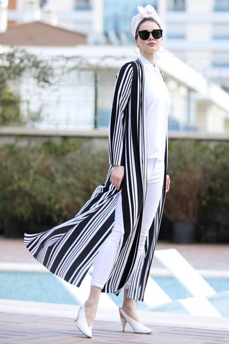 Selma Sarı Design Siyah Beyaz Uzun Kimono Ceket