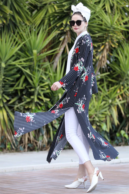 Selma Sarı Design Siyah Bordo Uzun Kimono Ceket