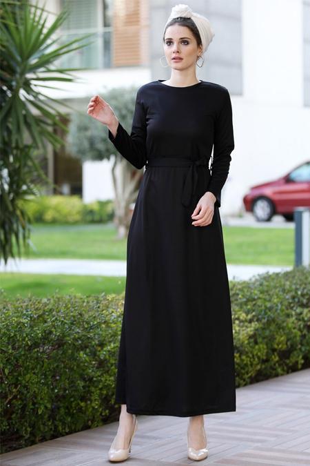 Selma Sarı Design Siyah Düz Basic Likralı Elbise
