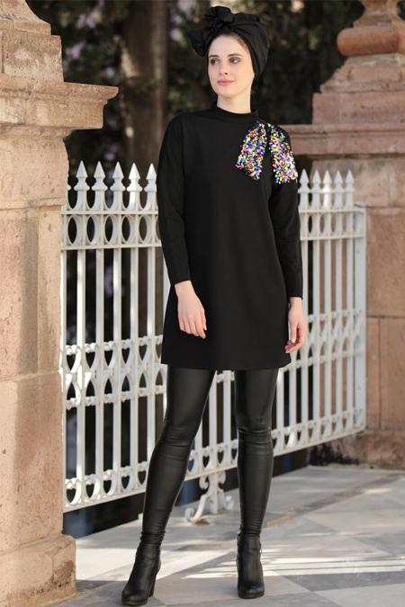 Selma Sarı Design Siyah Fiyonklu Payet Detaylı Tunik