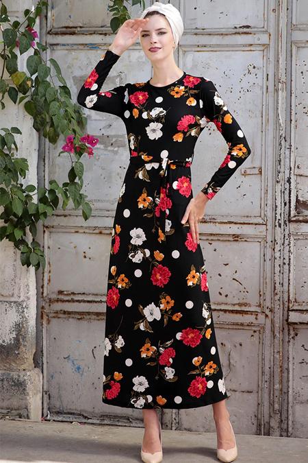 Selma Sarı Design Siyah Turuncu Lale Elbise