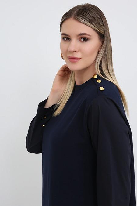 Alia Lacivert Düğme Detaylı Spor Elbise