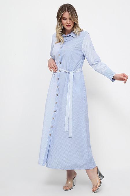 Alia Mavi Boydan Düğmeli Pötikareli Elbise