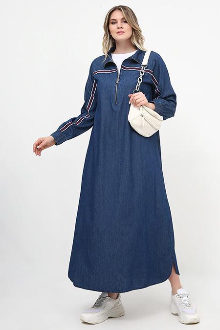 Alia Mavi Yakası Fermuarlı Kot Elbise