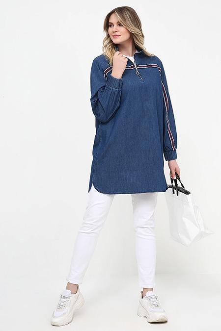 Alia Mavi Yakası Fermuarlı Kot Tunik