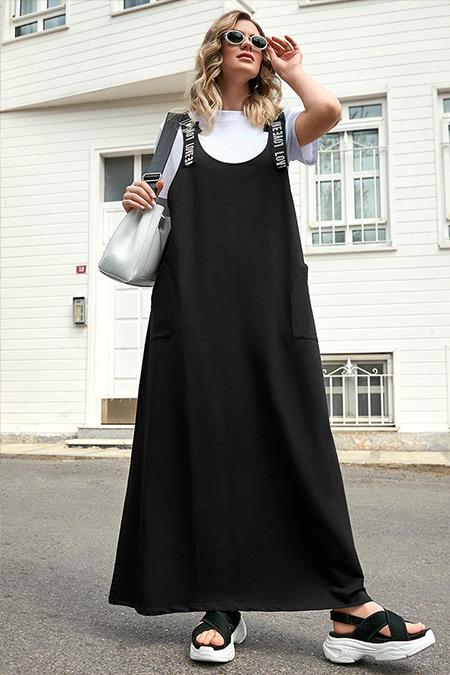 Alia Siyah Askılı Spor Elbise