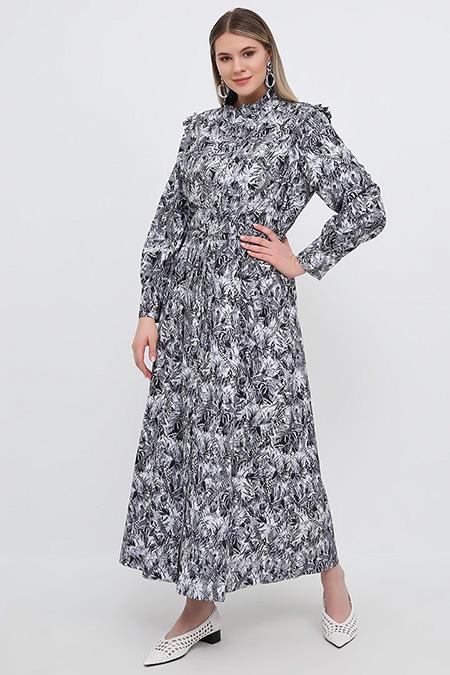 Alia Siyah Boydan Düğmeli Desenli Elbise