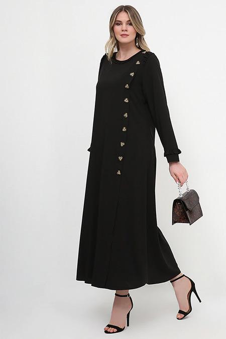 Alia Siyah Fırfır Detaylı Elbise
