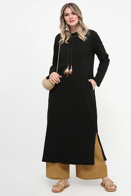 Alia Siyah Yakası Bağcıklı Uzun Tunik