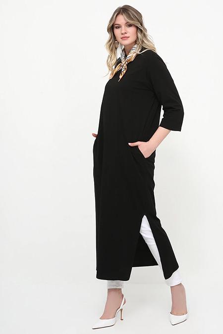 Alia Siyah Yanları Yırtmaçlı Tunik