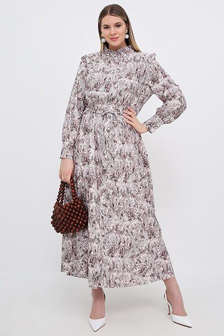 Alia Vizon Kahve Boydan Düğmeli Desenli Elbise