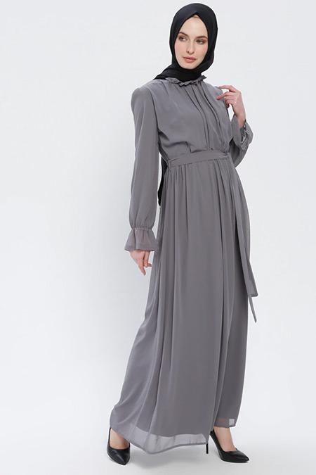 BÜRÜN Gri Fırfırlı Elbise
