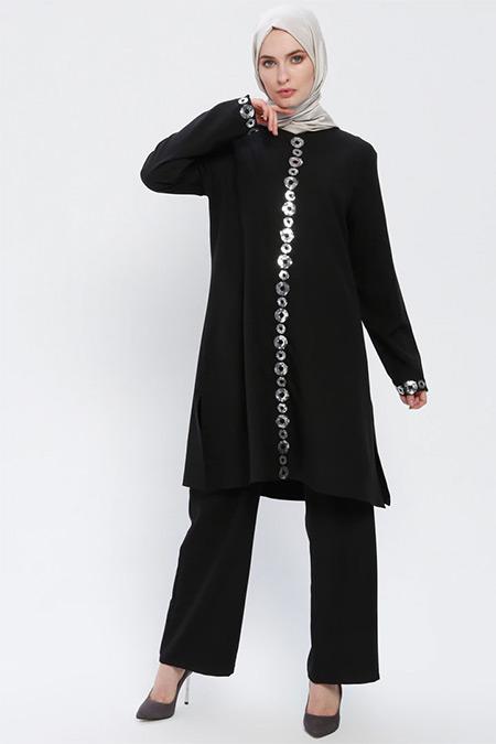 BÜRÜN Siyah Tunik&Pantolon İkili Takım