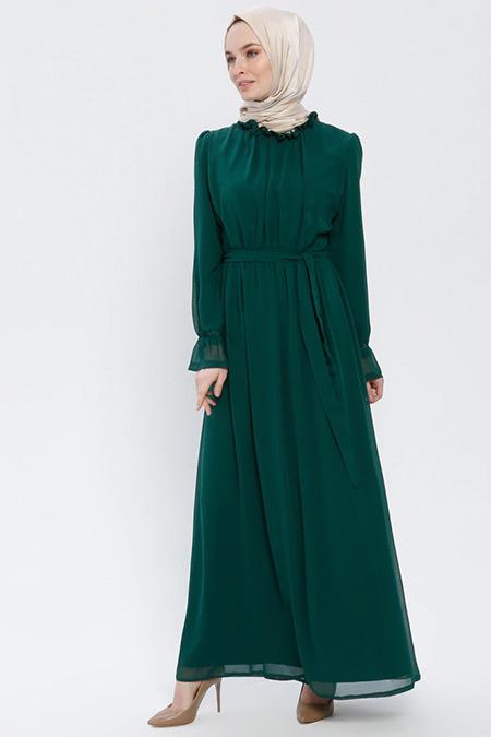 BÜRÜN Zümrüt Fırfırlı Elbise