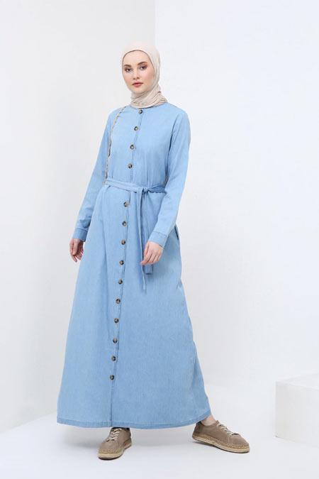 Benin Buz Mavisi Boydan Düğmeli Kot Elbise
