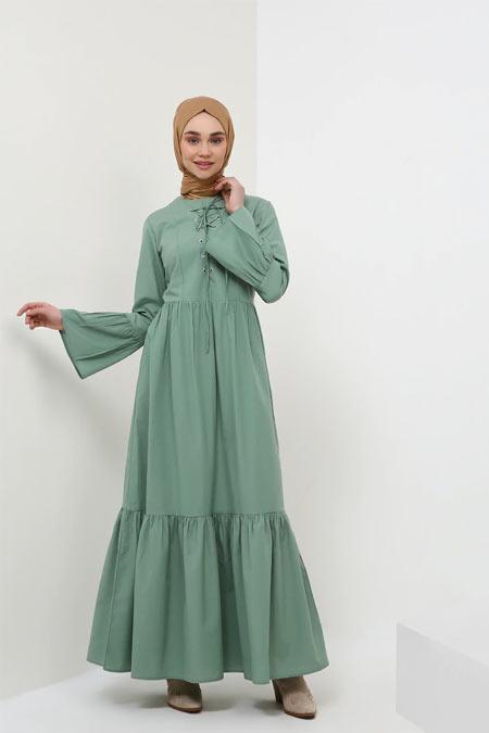 Benin Çağla Yeşili Fırfır Detaylı Bağcıklı Elbise