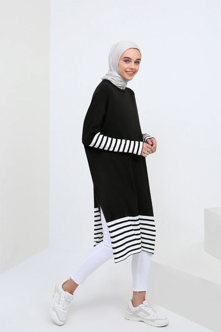 Benin Siyah Beyaz Triko Tunik