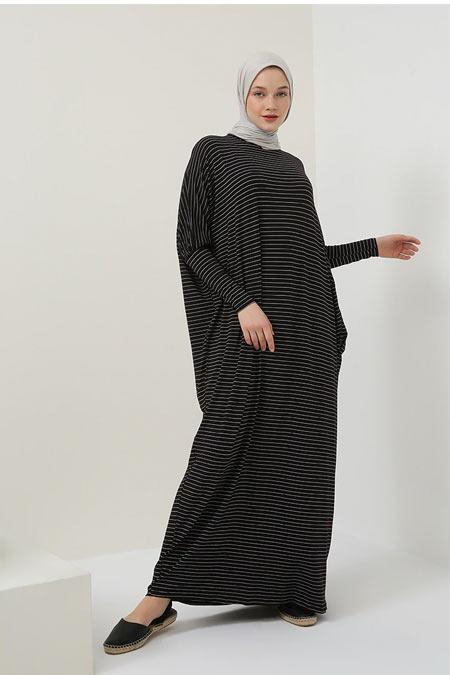 Benin Siyah Doğal Kumaşlı Çizgili Salaş Elbise