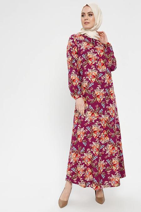ECESUN Bordo Çiçek Desenli Elbise