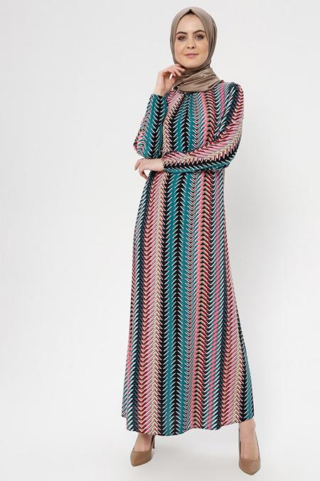 ECESUN Fuşya Desenli Elbise