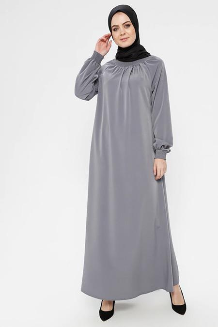 ECESUN Gri Yakası ve Kol Ucu Lastikli Elbise
