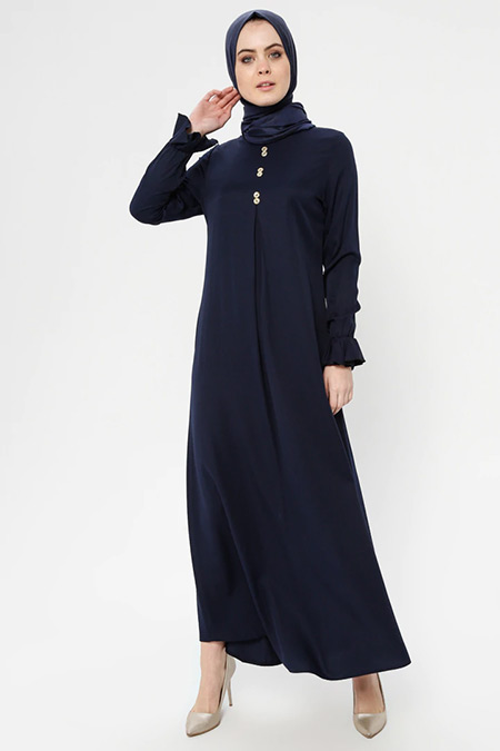ECESUN Lacivert A Pile Elbise
