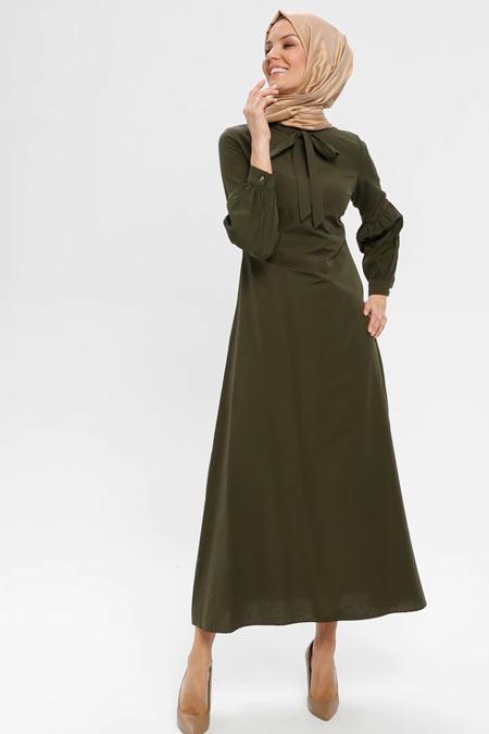 ELİT LİFE Haki Yaka Detaylı Elbise