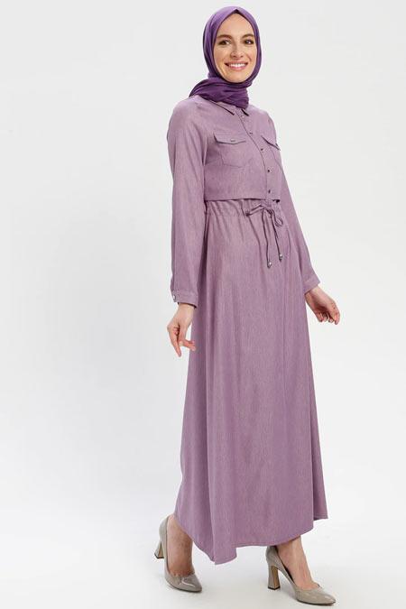 ELİT LİFE Lila Belden Bağlamalı Elbise