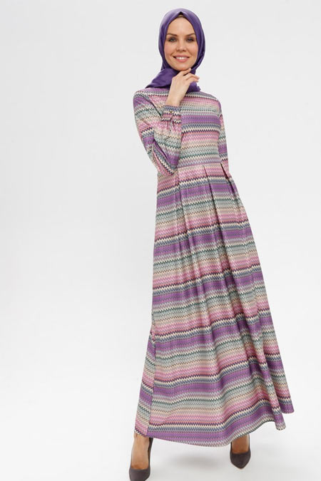 ELİT LİFE Mor Desenli Elbise