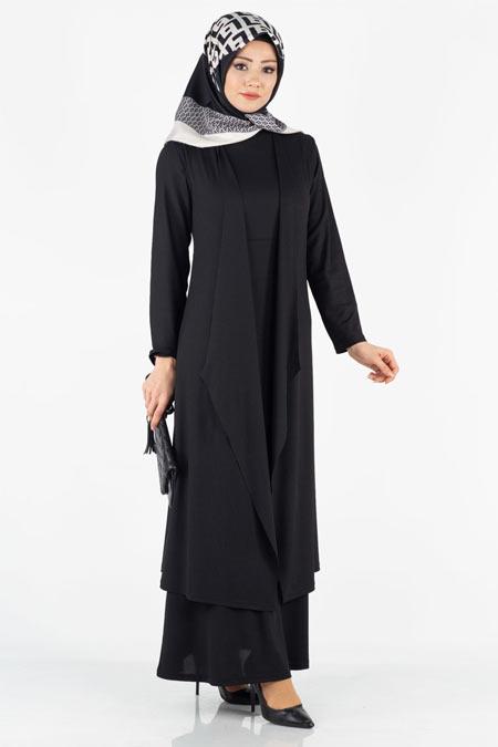 Elbise ve Yelek Tesettür İkili Kombin