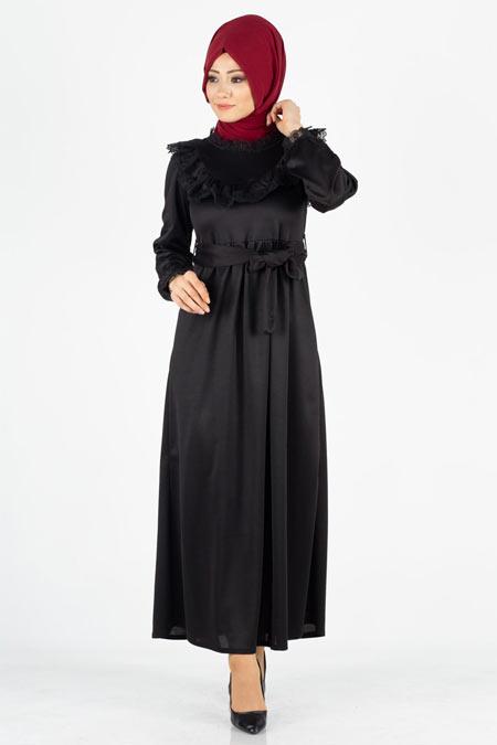 Fırfırlı Dantel Detaylı Tesettür Elbise