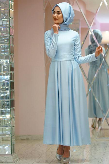 Gamze Özkul Mavi Kuşaklı Elbise