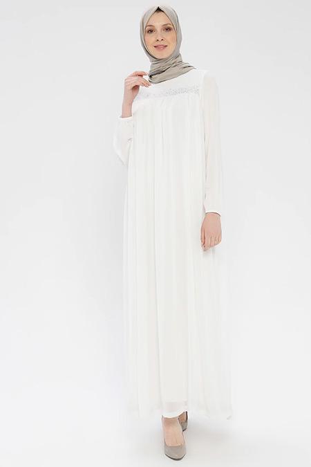 Ginezza Beyaz Drop Baskılı Elbise