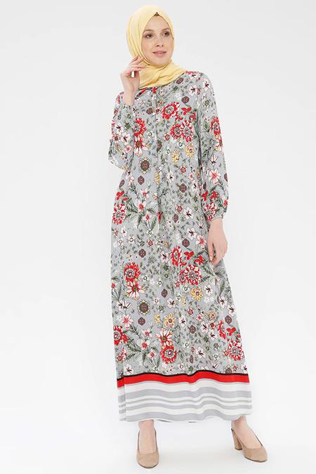 Ginezza Gri Desenli Elbise