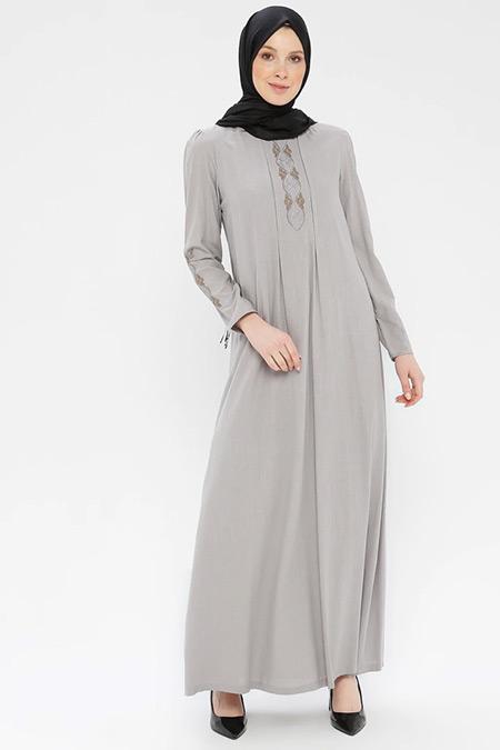Ginezza Gri Nakışlı Elbise