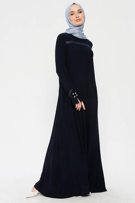 Ginezza Lacivert Drop Baskılı İncili Elbise