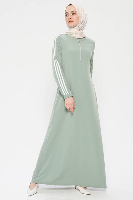 Ginezza Mint Yeşili Yakası Fermuarlı Elbise
