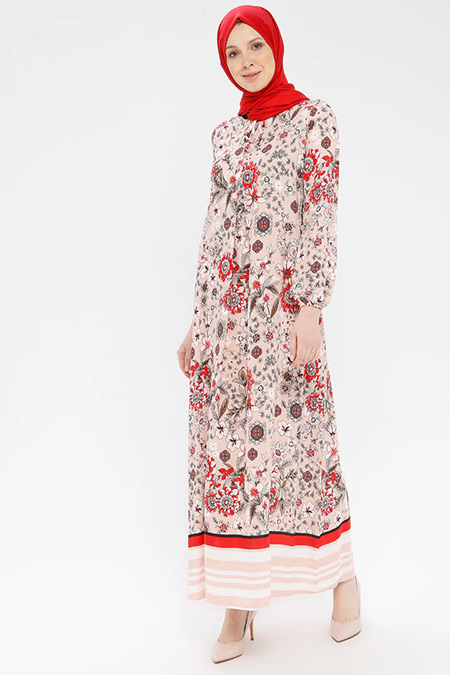 Ginezza Pudra Desenli Elbise